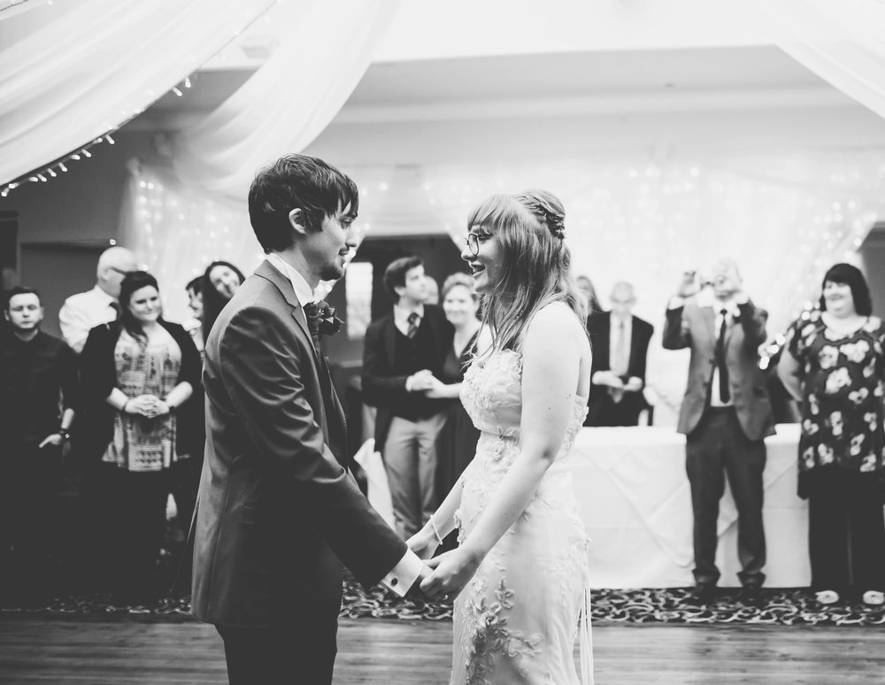 Bride and groom first dance- Black and white documentary wedding photography
