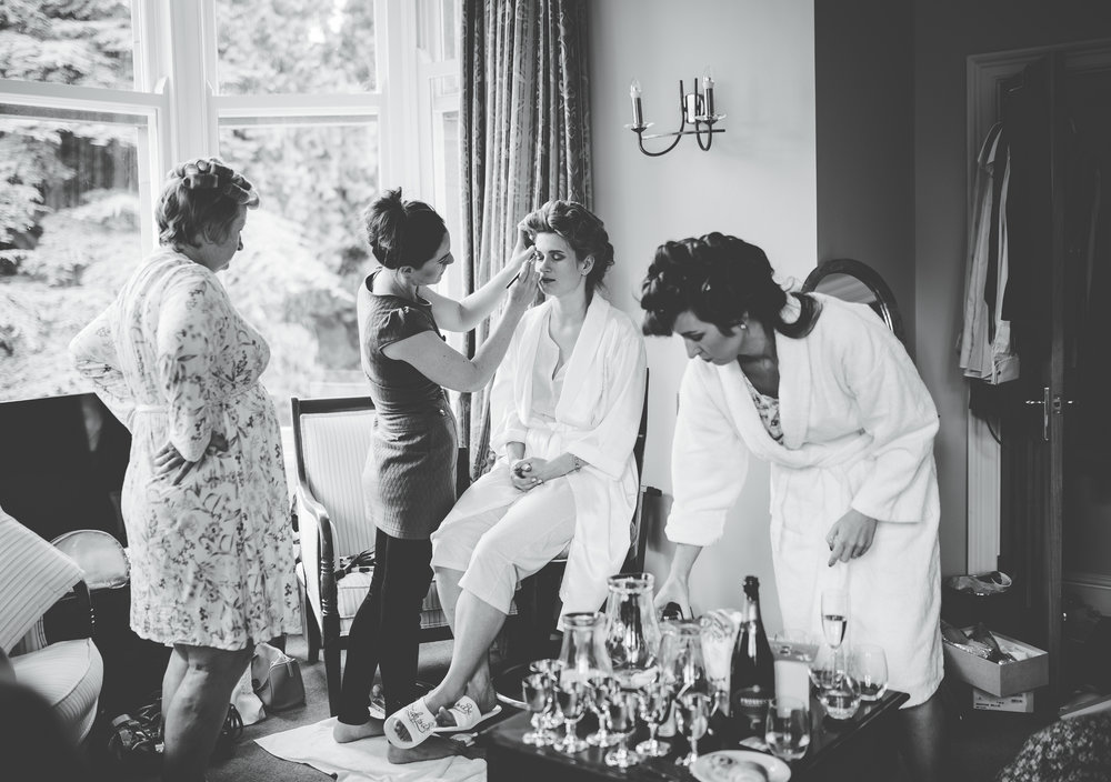 The bride and bridesmaids getting ready before the Lake District wedding