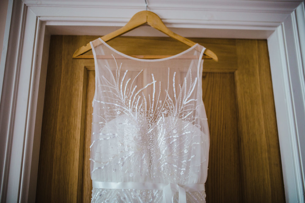 The wedding dress hung on up- Lake district wedding photography