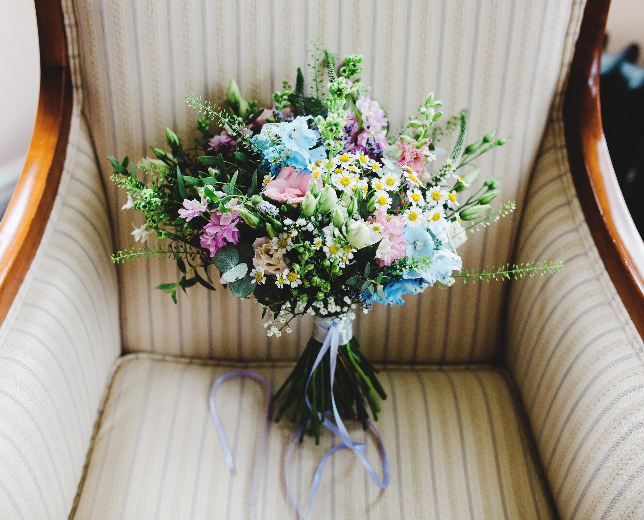 Spring wildflower inspired wedding bouquet