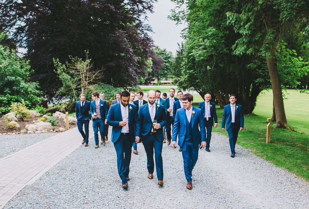 All of the groomsmen and groom, Lake district wedding