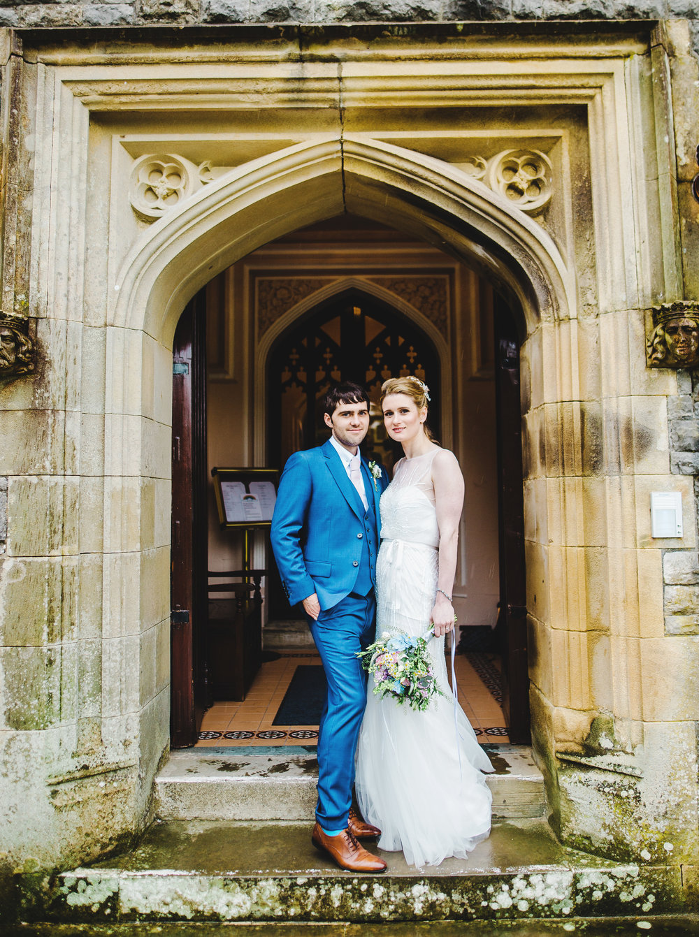 Portrait of the bride and groom at Villa at Levens