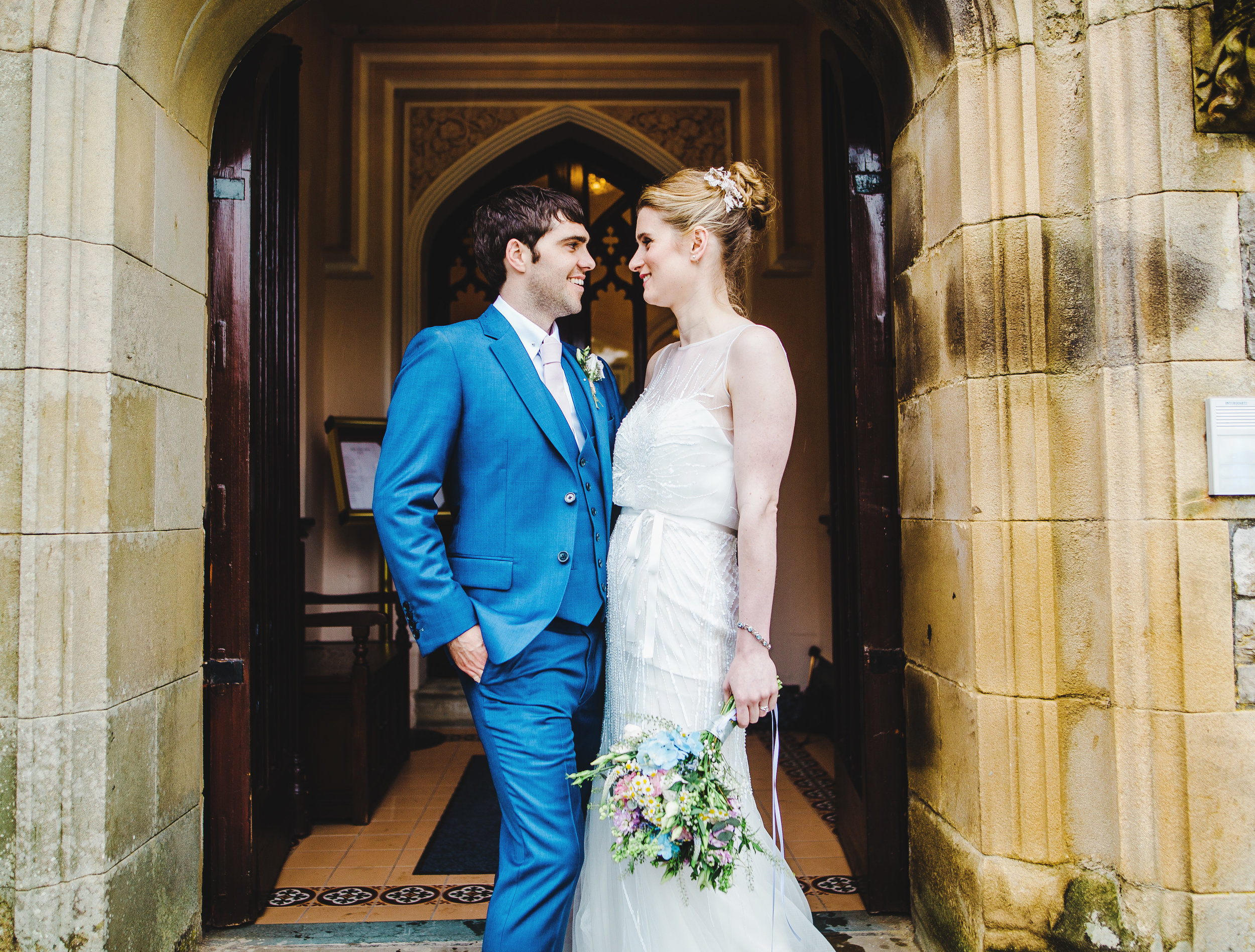 Villa at Levens wedding - bride and groom outside