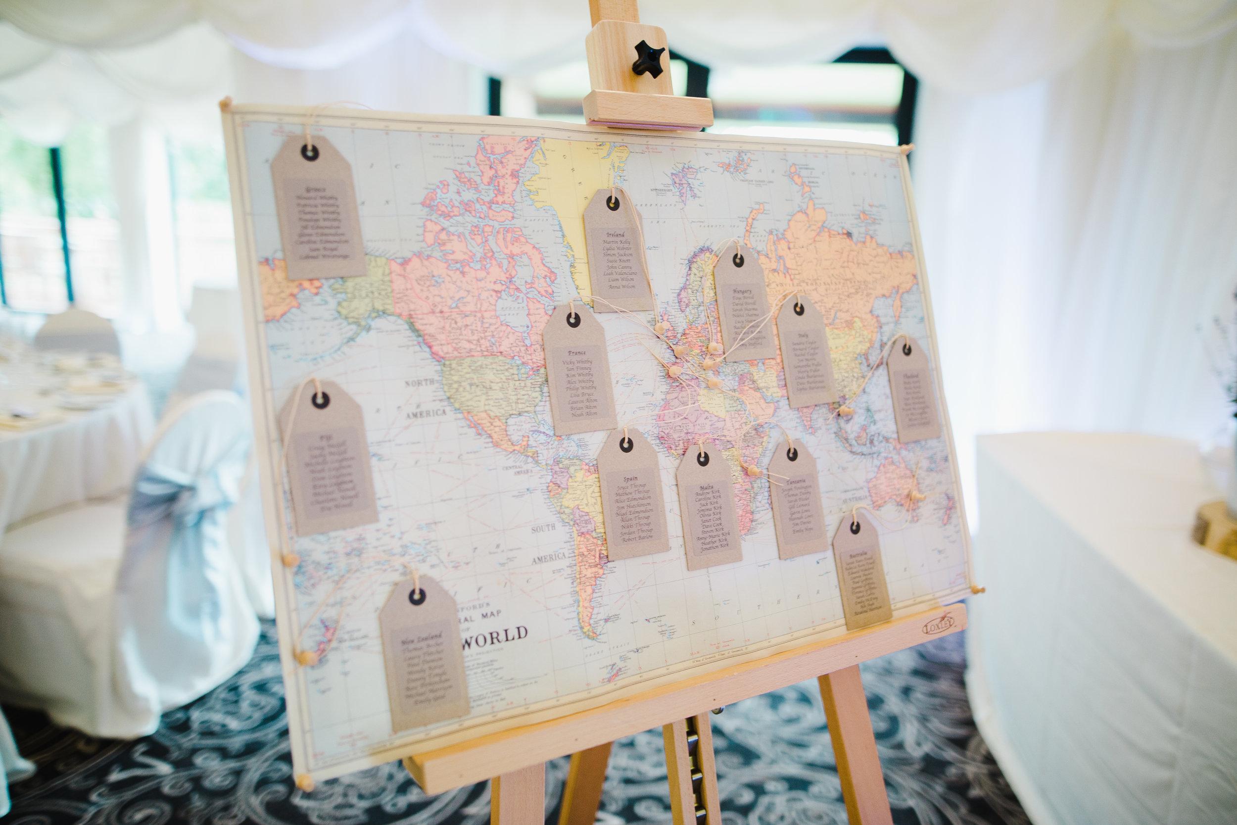 travel inspired wedding seating plan