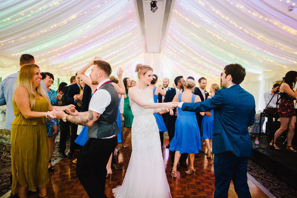The wedding guest hitting the dance floor at Villa at Levens- Creative wedding photography, Lake district