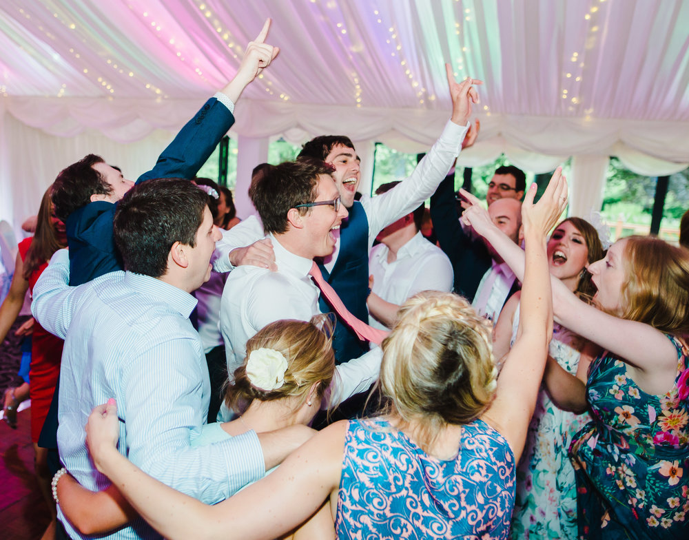 A full dance floor at Villa at Levens, Lake district for a modern wedding