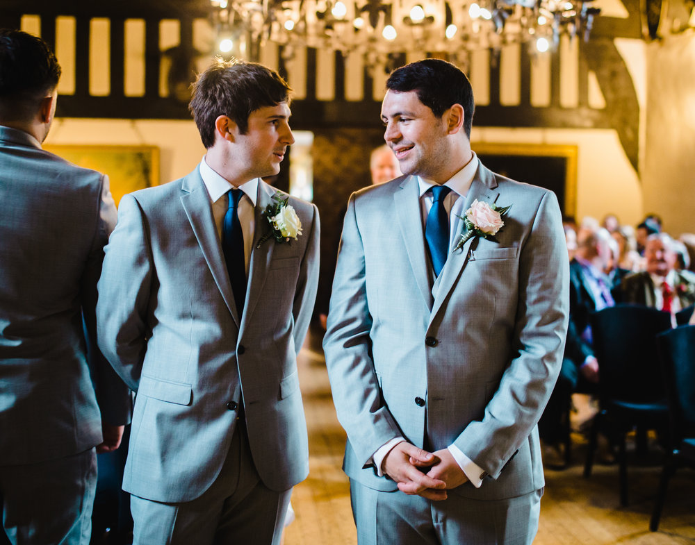 The groom and best man waiting at the alter- Samlesbury Hall wedding photography