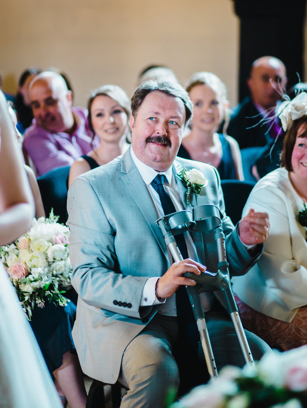 Smile from the brides father- Wedding photography in Lancashire, Preston