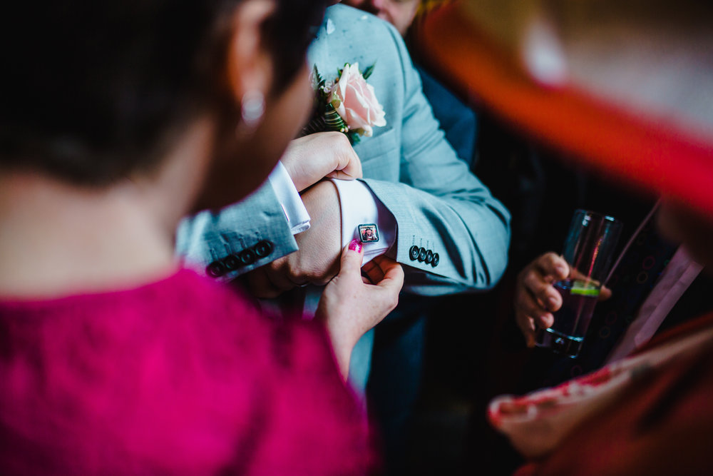 The cuff links of the groom- relaxed wedding photographer, lancashire