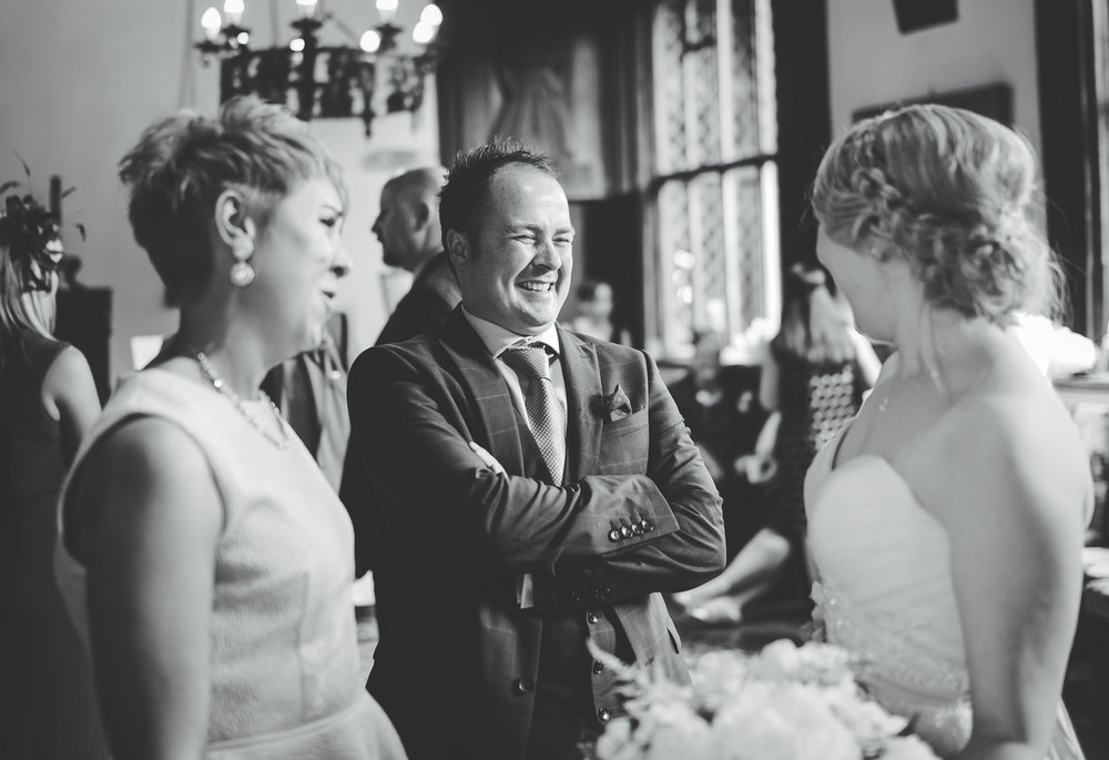 The bride with her wedding guests, Black and white image- Creative photography