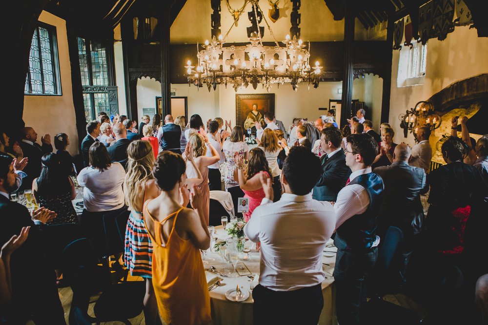 A room at Samlesbury Hall filled with wedding guest- Wedding photographer in lancashire