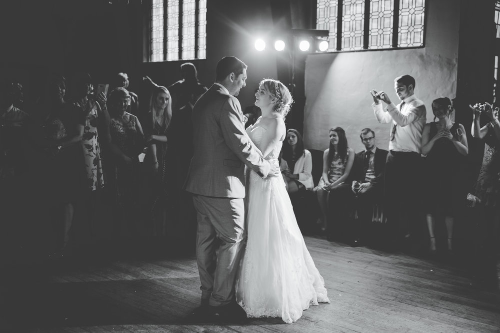 The first dance for the bride and groom at Samlesbury Hall- Documentary wedding photography