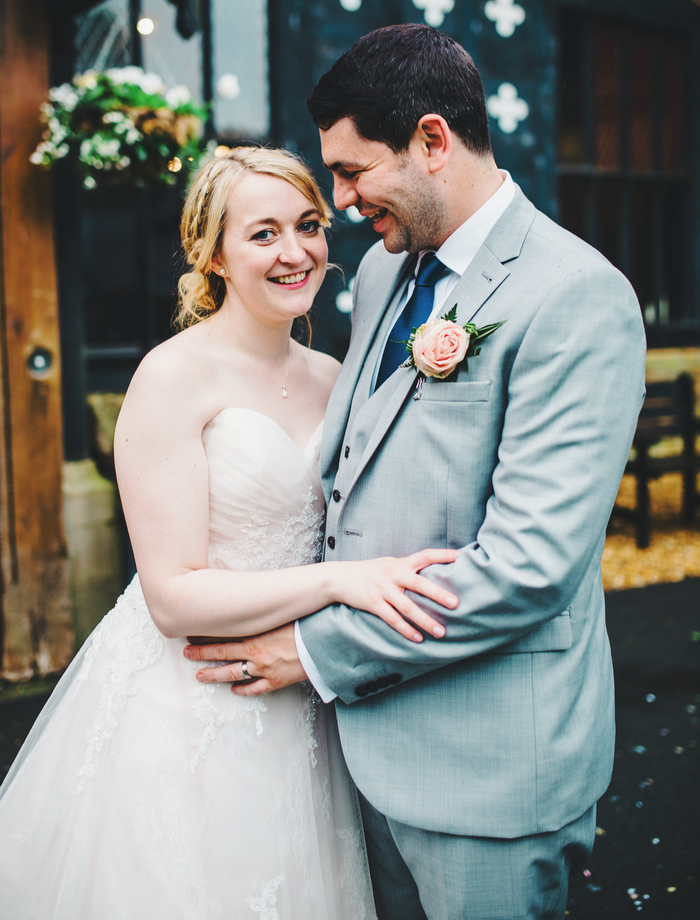 Portrait of the bride and groom outside- Creative wedding photography