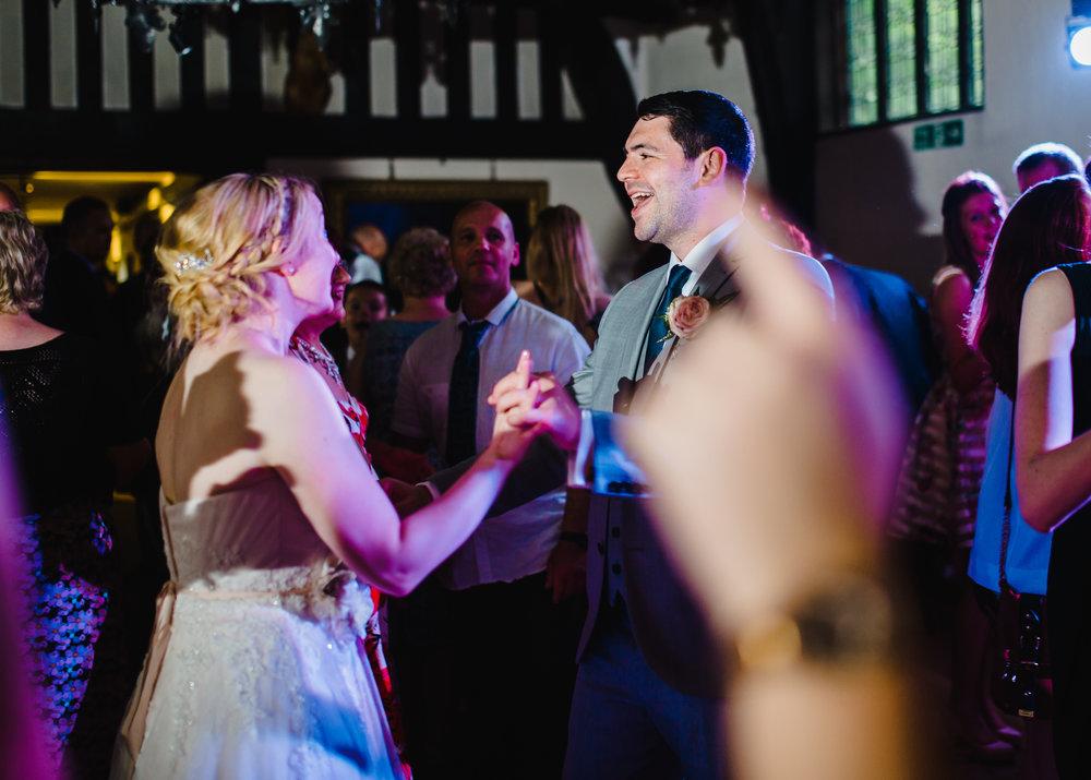 The bride and groom on the dance floor at Samlesbury Hall