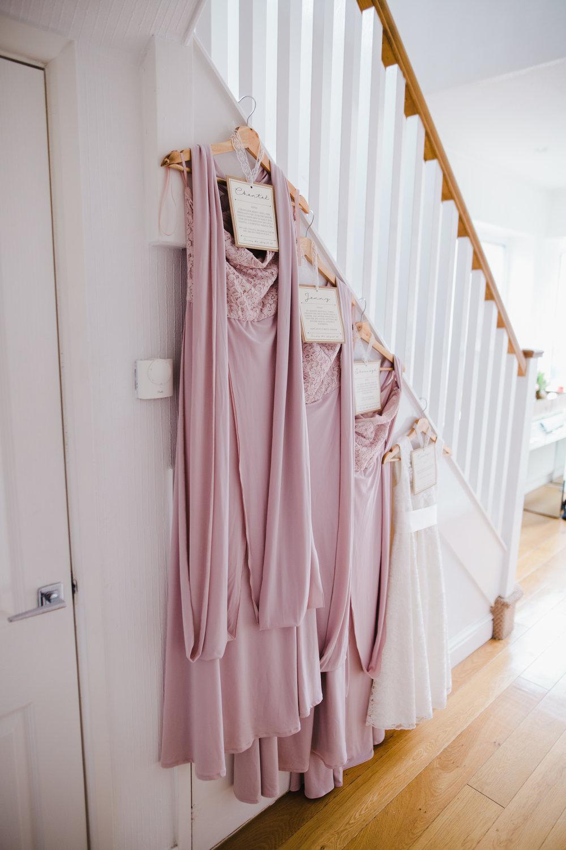 bridesmaid dresses hanged up - lancashire wedding photographer