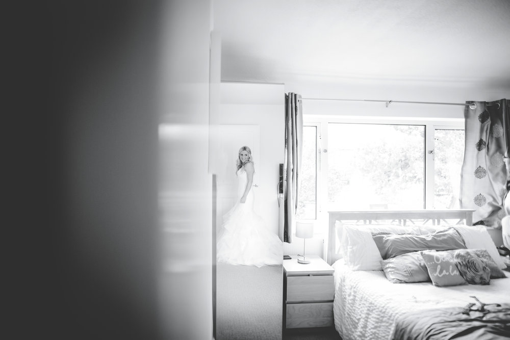 Black and white photograph of the bride- Documentary wedding photography