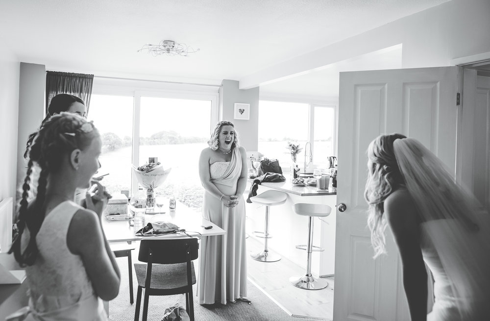 Documentary wedding of the bride seeing her bridesmaids- Manchester wedding