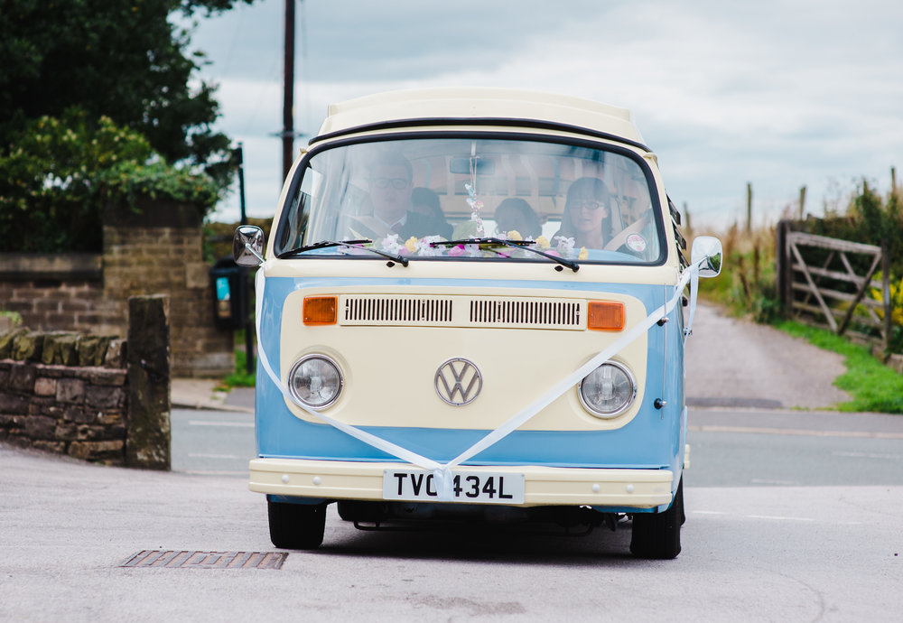 Campervan for a wedding car- Lancashire modern wedding