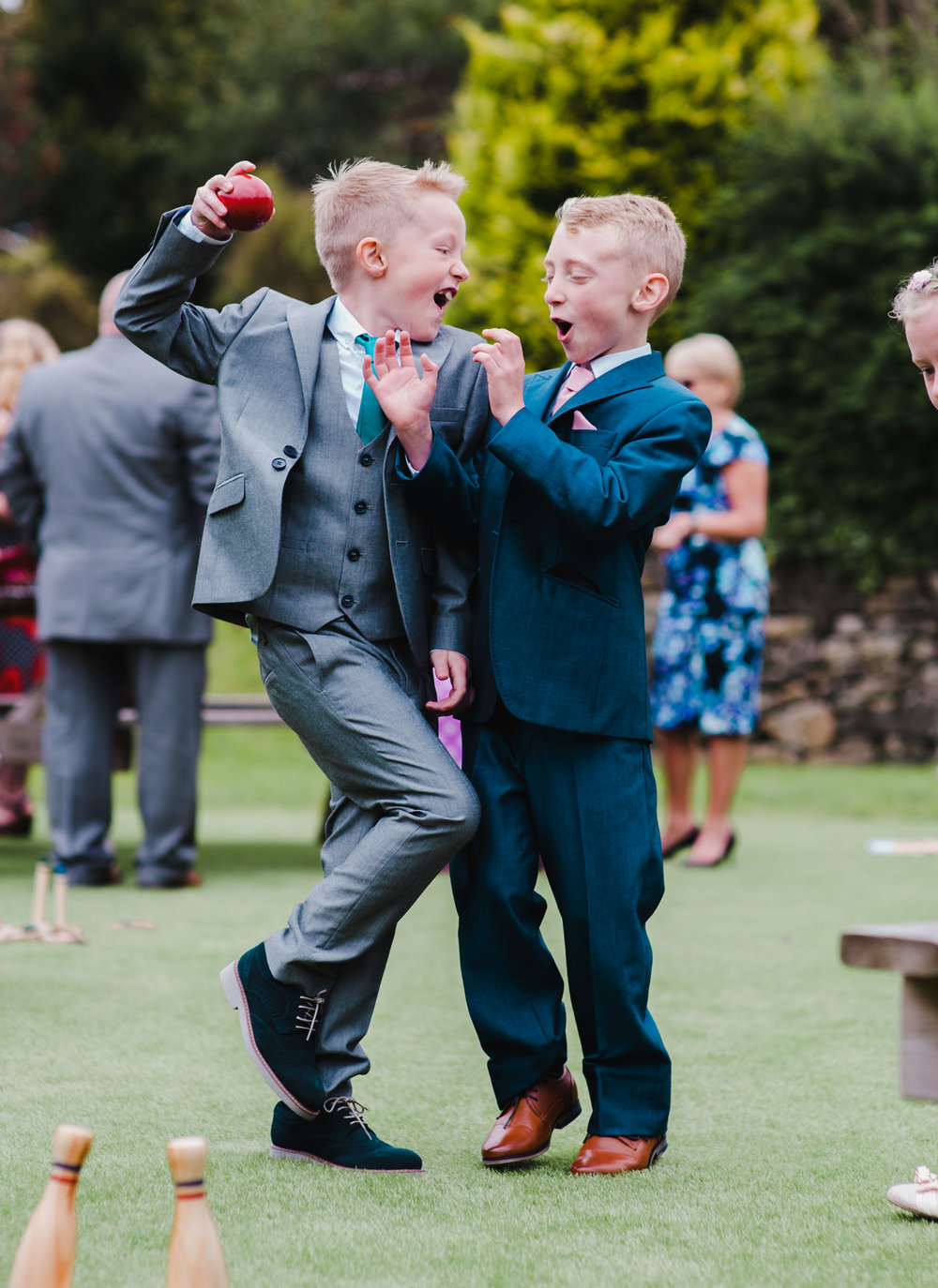 The little ones having a game of bowls- Handcraft wedding, lancashire
