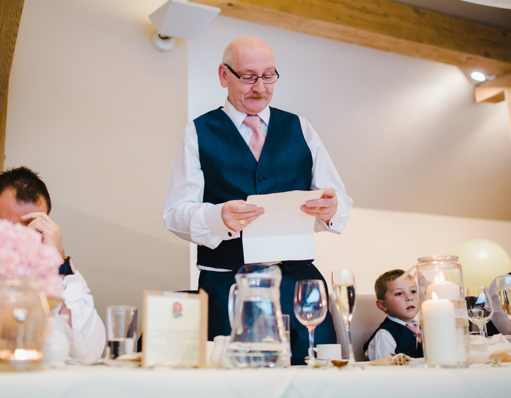 Father of the bride ready for his speech- Rustic wedding