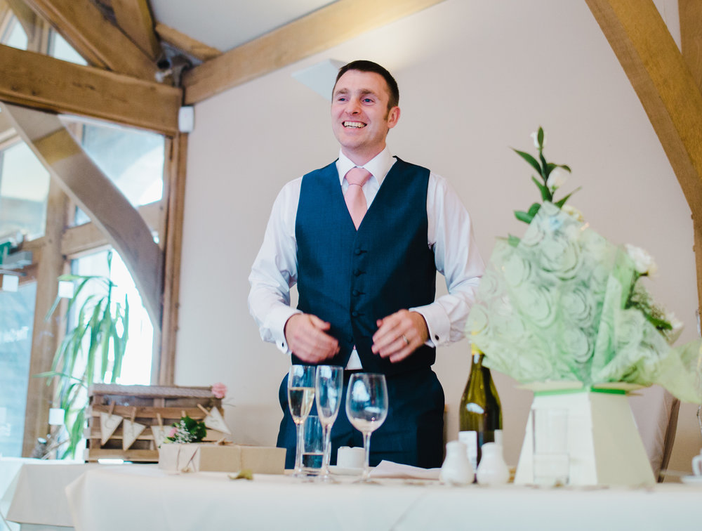 big smiles from the groom on his wedding day, diy wedding