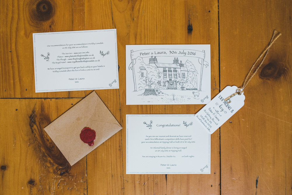 Handmade wedding invitations for the intimate wedding at the lake district