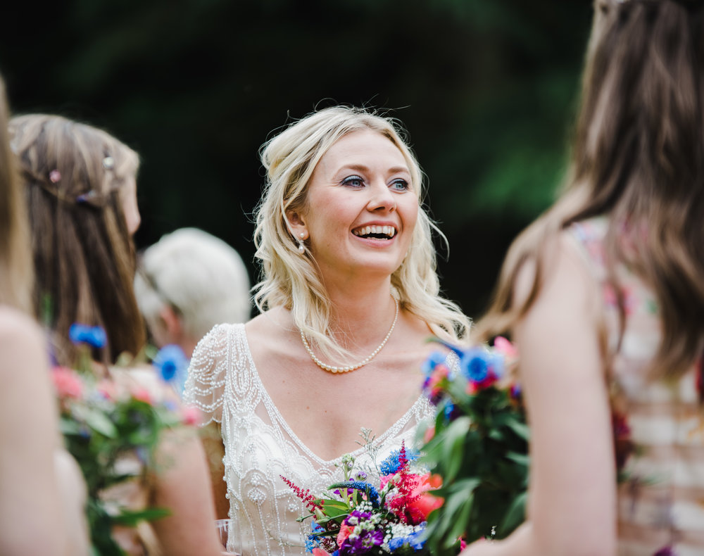 Smiles from the bride on her big day- Hipping Hall Kirkby Lonsdale Wedding photographer