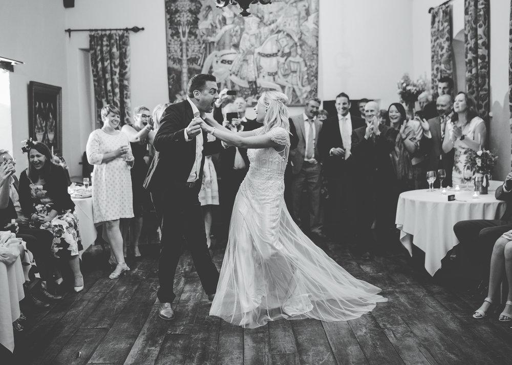 Bride and groom on the dance floor- Documentary wedding photography