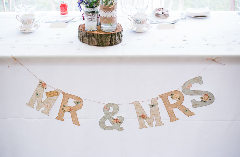 Handmade lettering of Mr and Mrs- Hipping Hall Wedding Venue