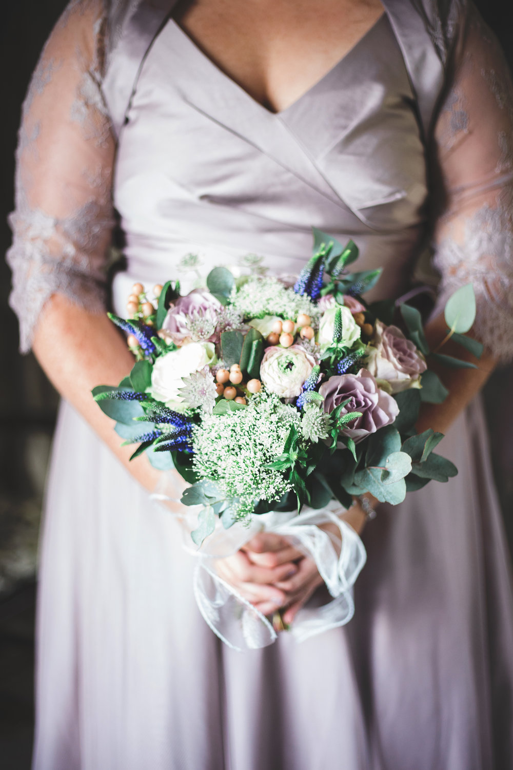 The bridesmaid dress featuring the flower bouquet- Vintage themed wedding