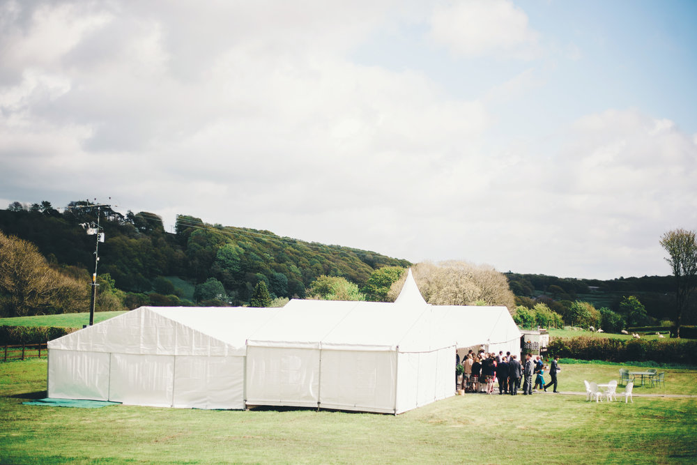 The tent used for the wedding at Hipping Hall in the Lake district
