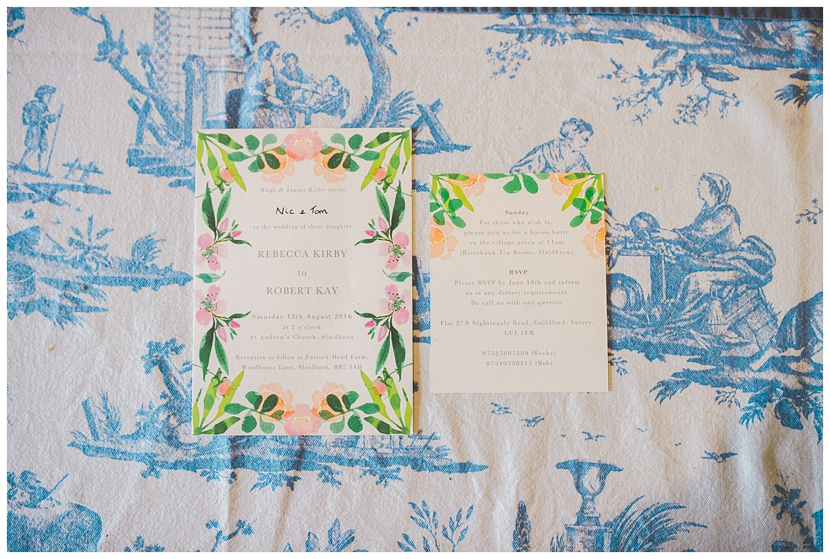 wedding invites - farm wedding lancashire