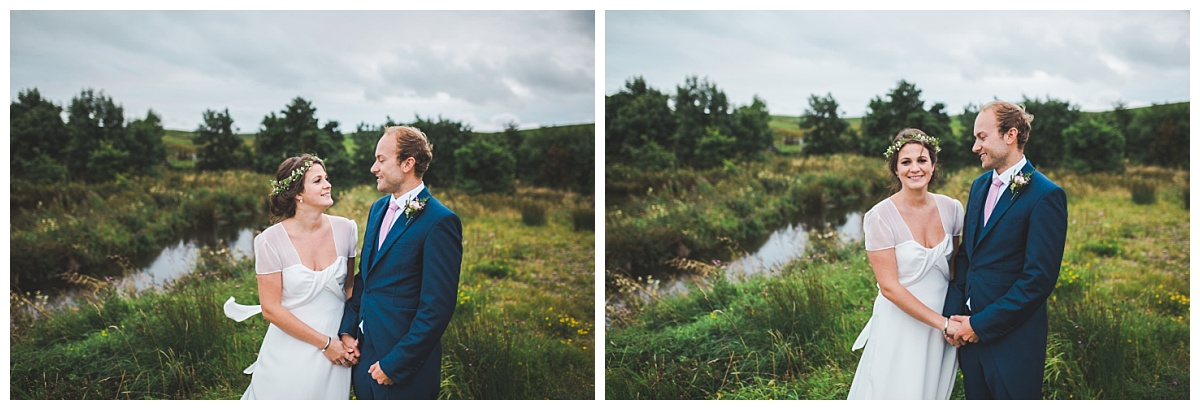 evening portraits with bride and groom - farm wedding Lancashire