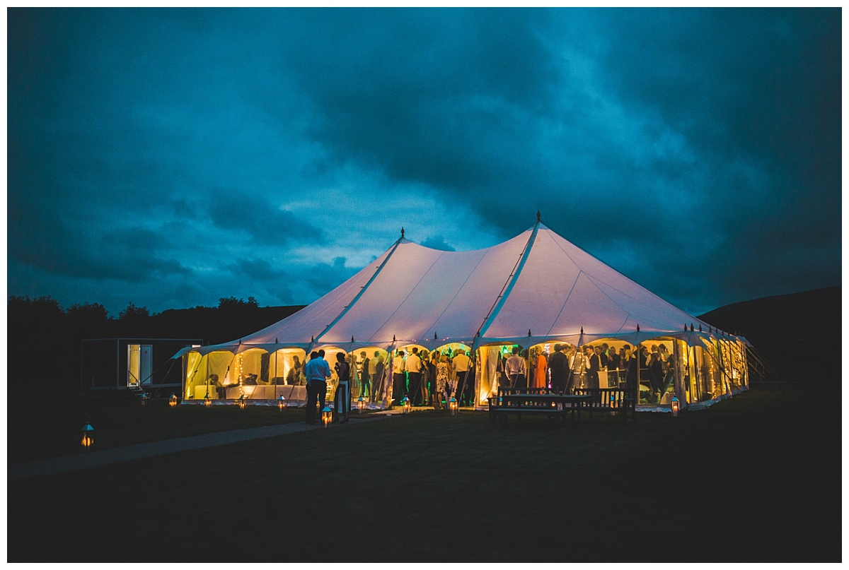 marquee wedding Lancashire - at night