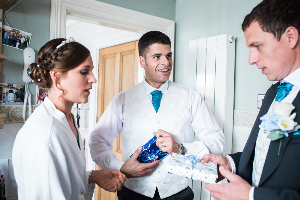 The bride and some weddings guests during bridal preparations- Relaxed wedding photography in Lancashire
