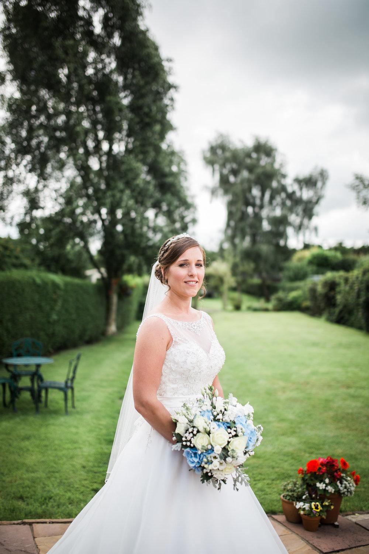 Portrait of the blushing bride- The Villa at Wrea Green Preston