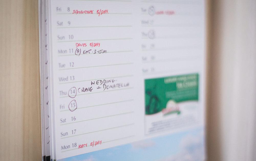 The wedding date in the calendar- Creative wedding photography