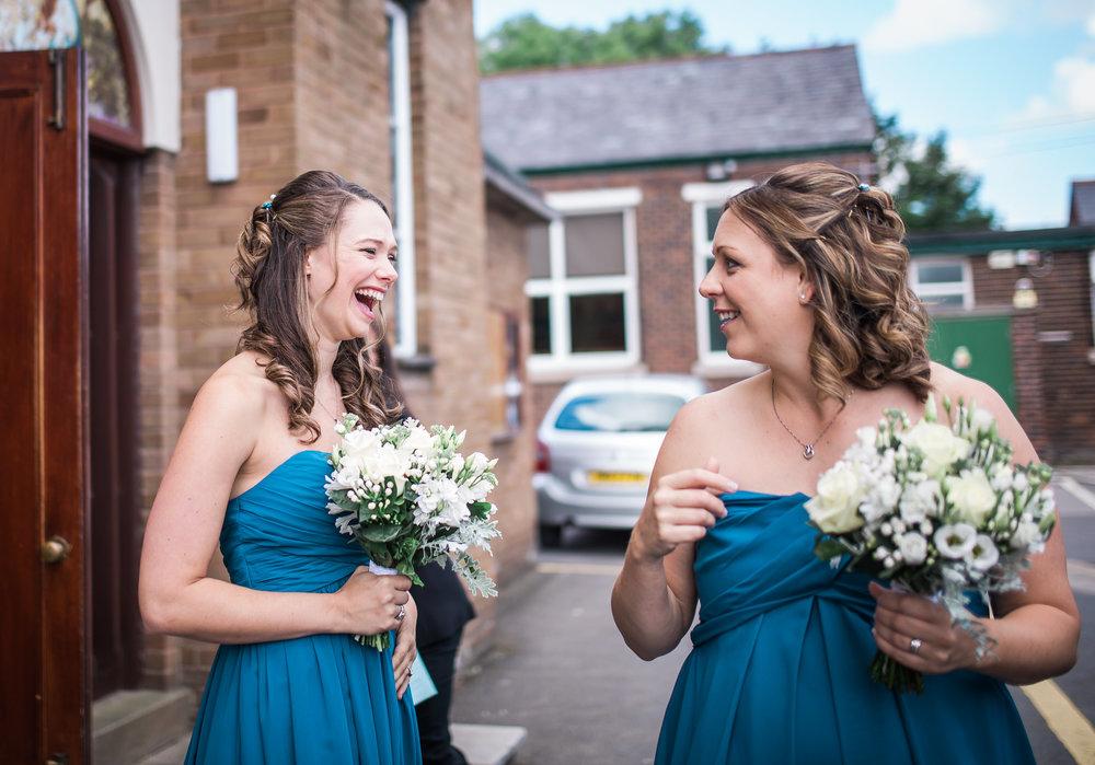 Laughing bridesmaids- Lancashire wedding photography