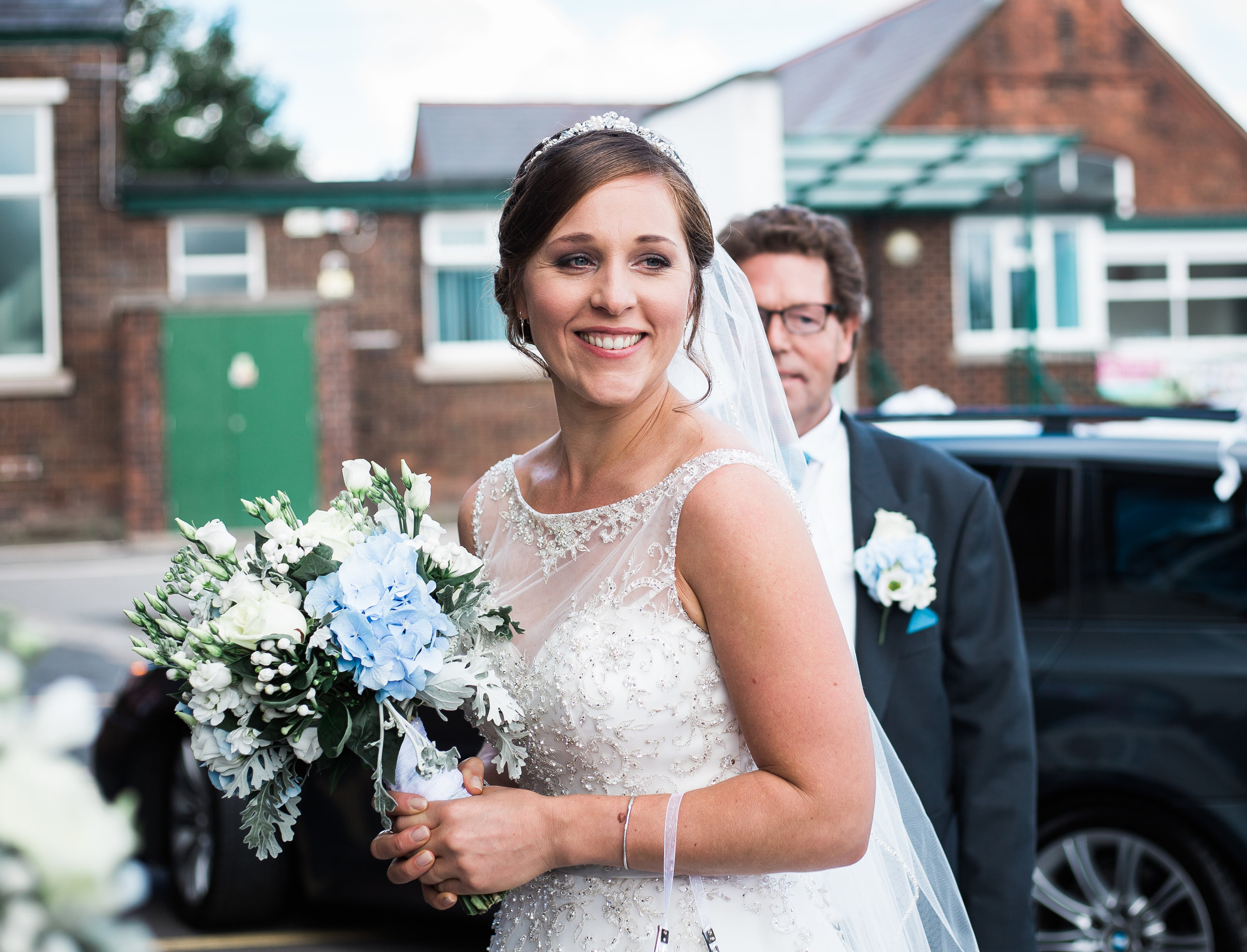 bride arrives at church - Lancashire wedding