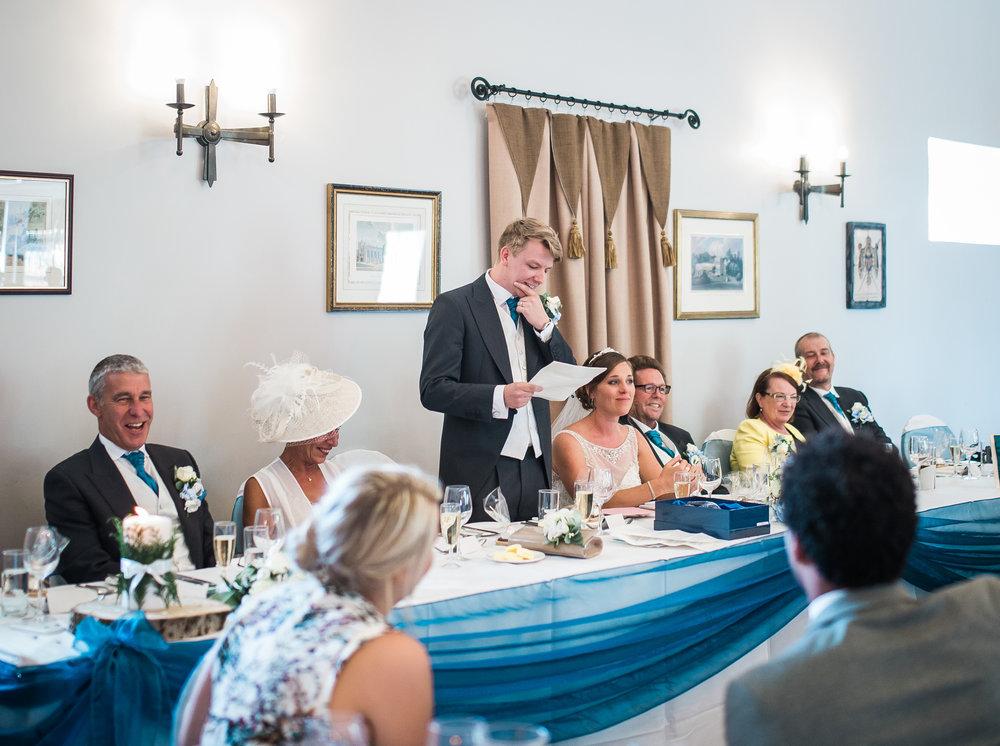 The groom saying his wedding speech- documentary wedding photography