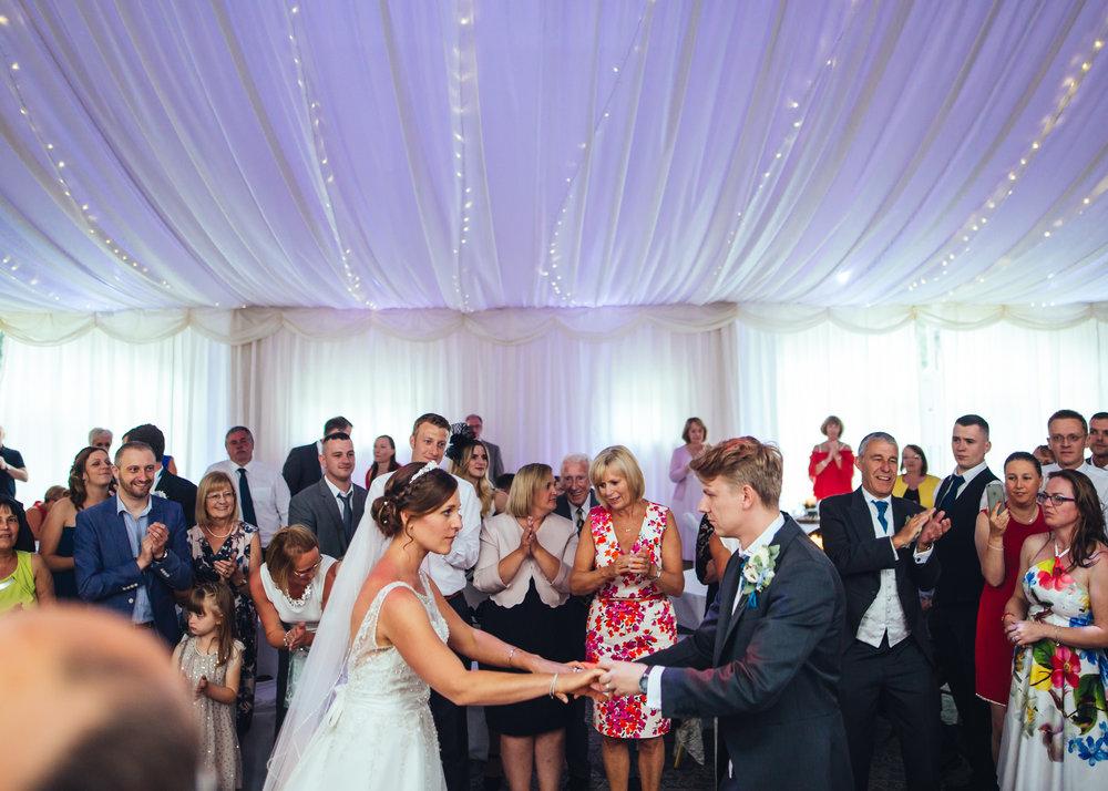 Bride and groom dancing on the dance floor- Relaxed wedding