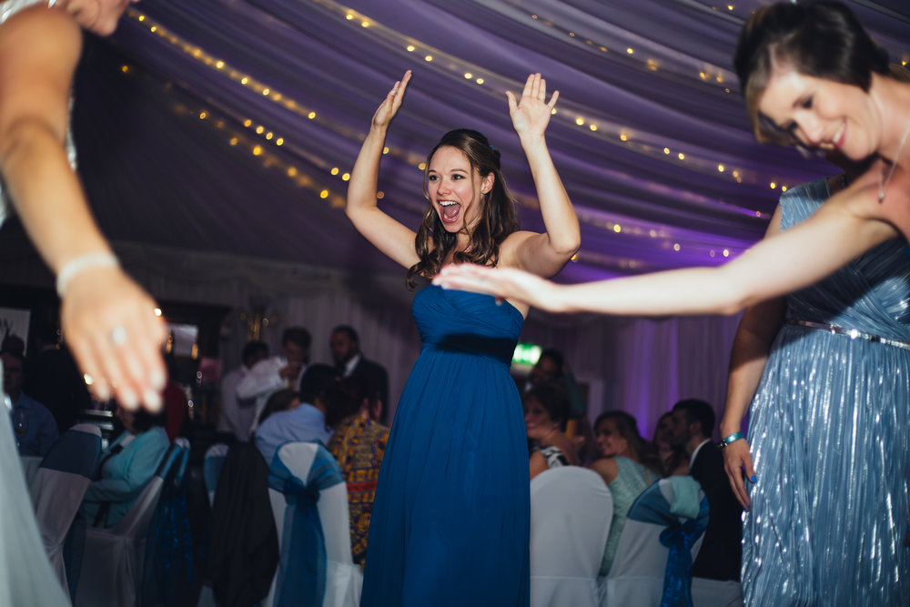 The bridesmaids are on the dance floor at The Villa at Wrea Green