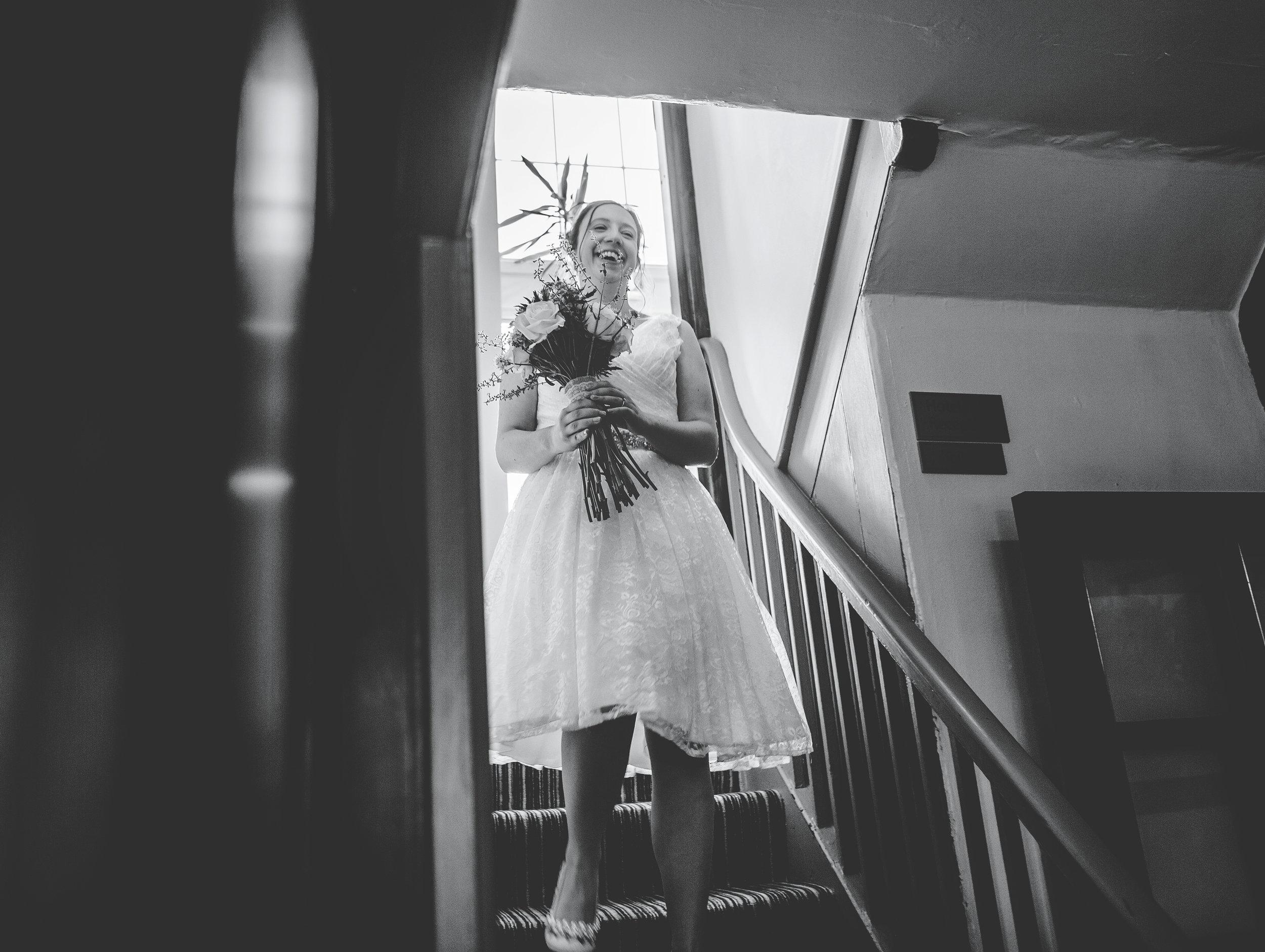 bride sees groom - first look