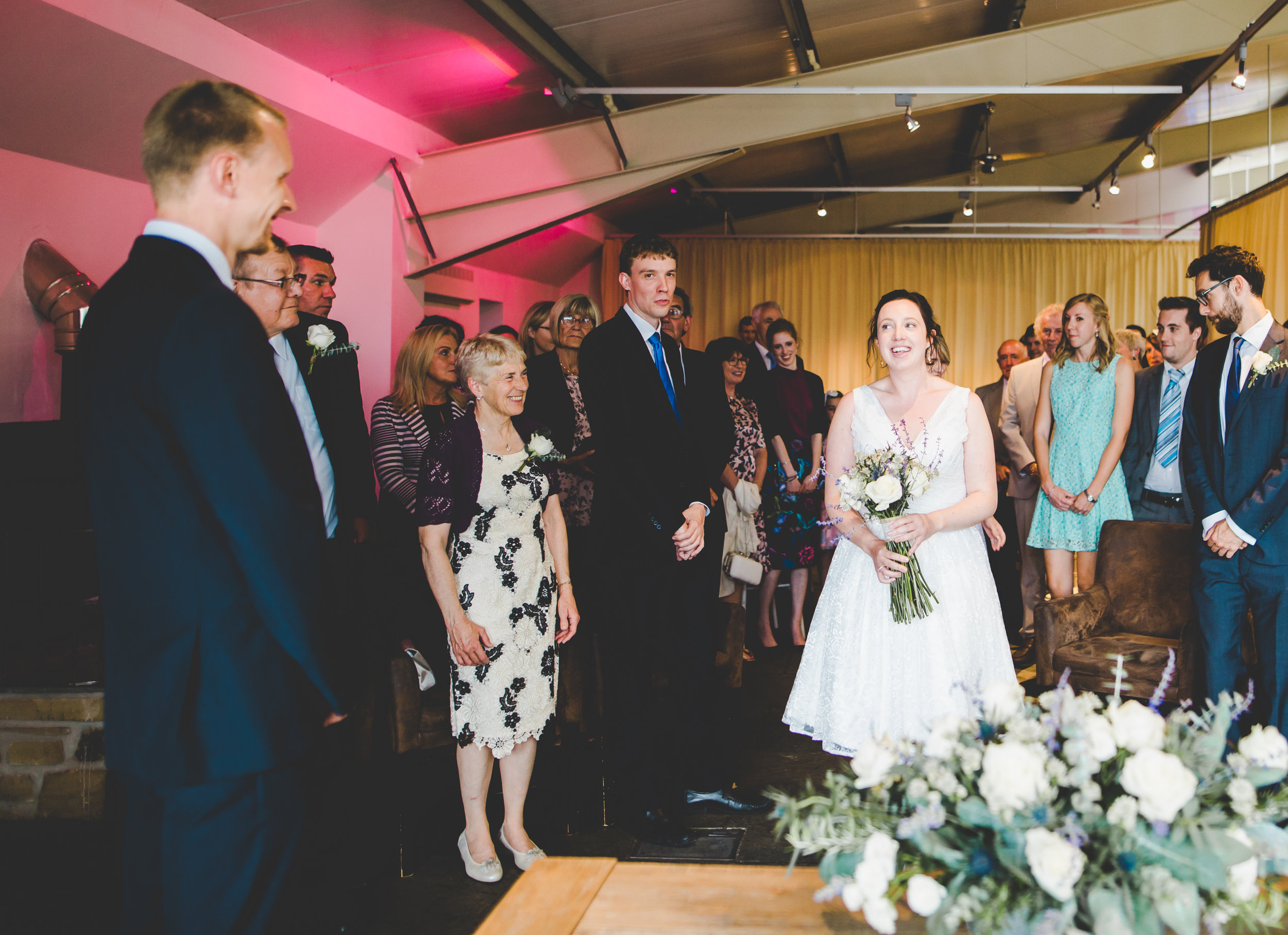 bride arrives at Bashall barn wedding ceremony