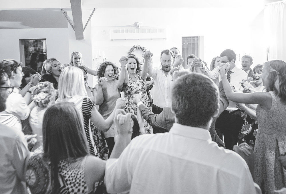 Guests watching the bride and groom on the dance floor- Ribble valley wedding photography
