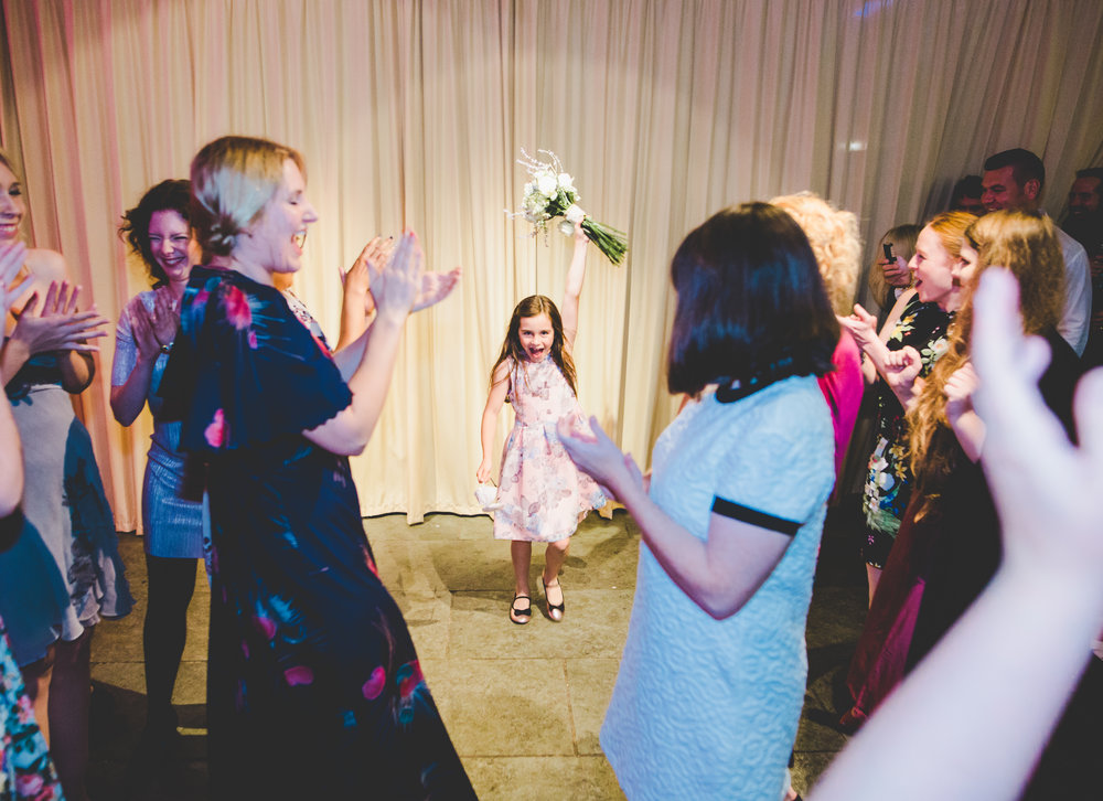 Younger guests hitting the dance floor at Bashall barn wedding venue