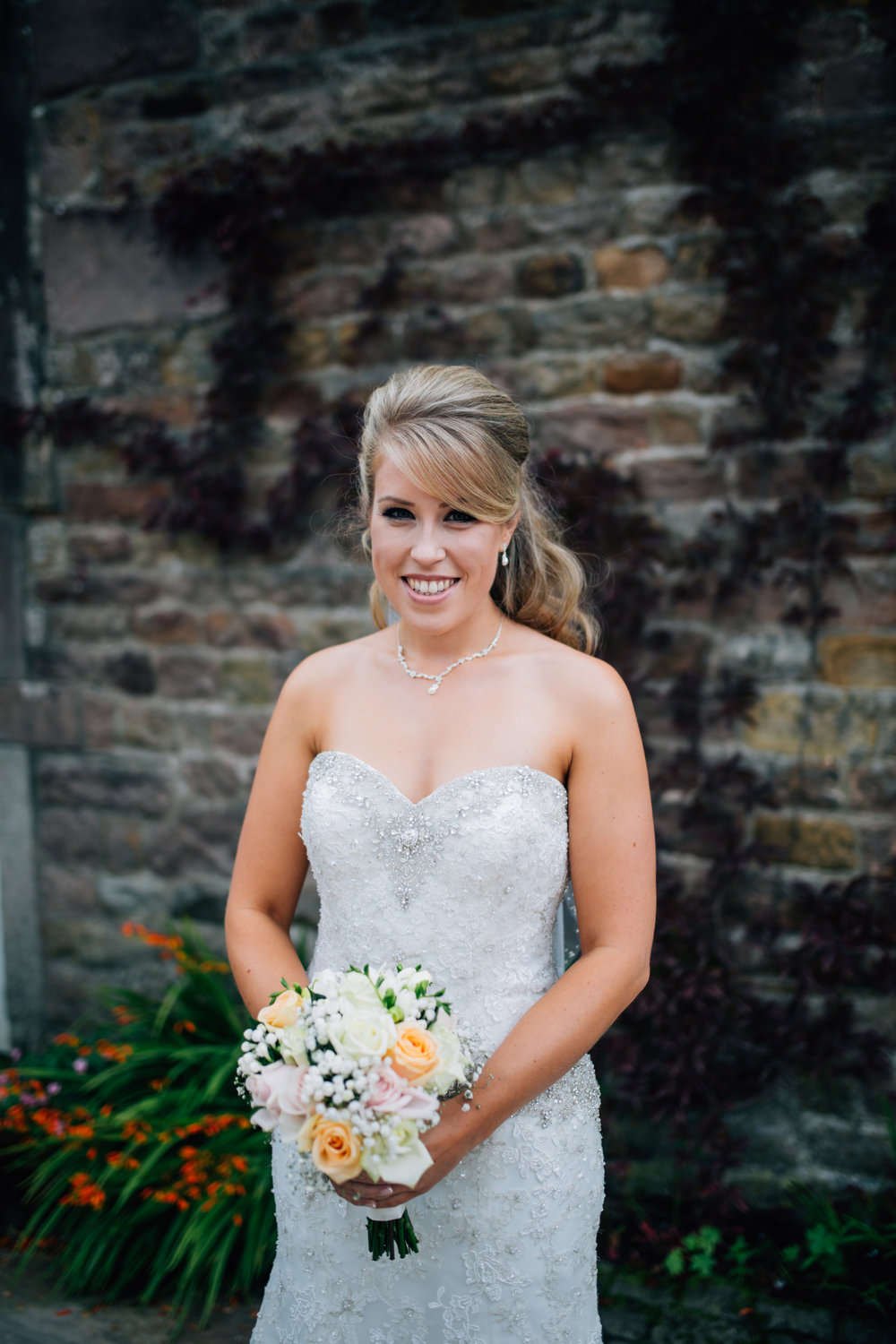 Portrait of the bride outside of Browsholme Hall