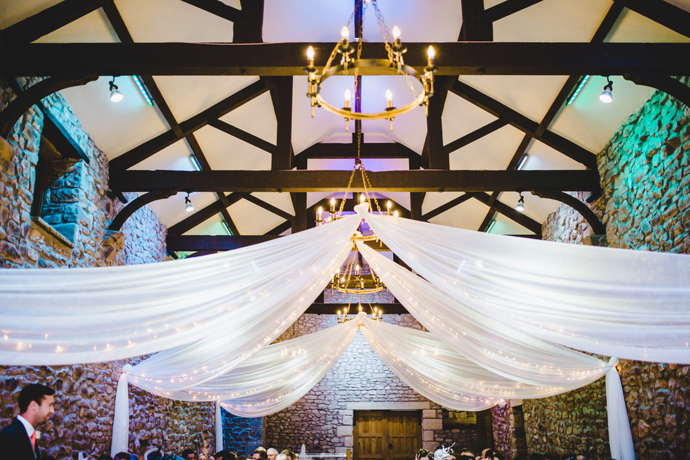 The interior decoration for the wedding at Browsholme Hall