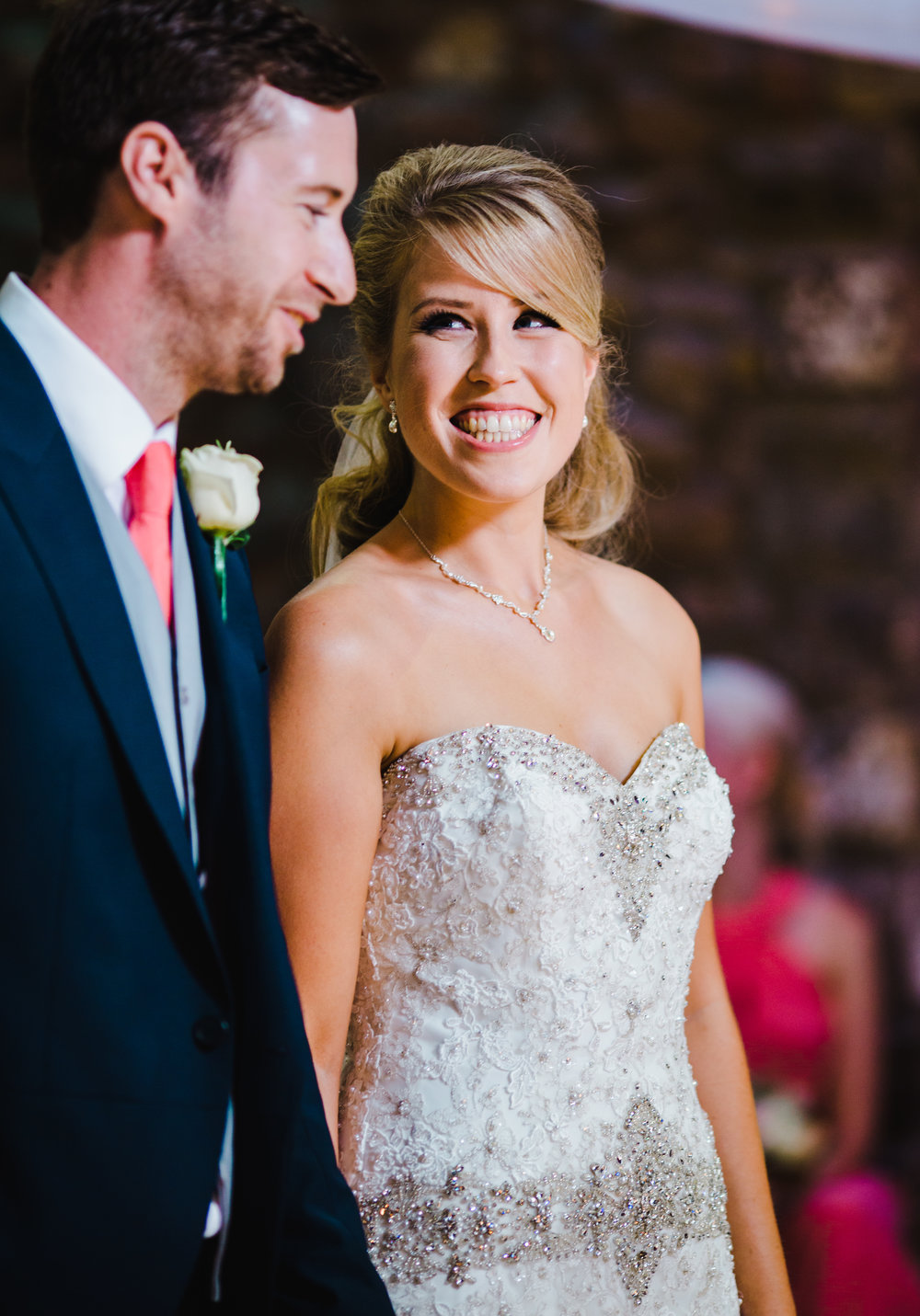 the bride smiling at her soon to be husband- Wedding photographer lancashire