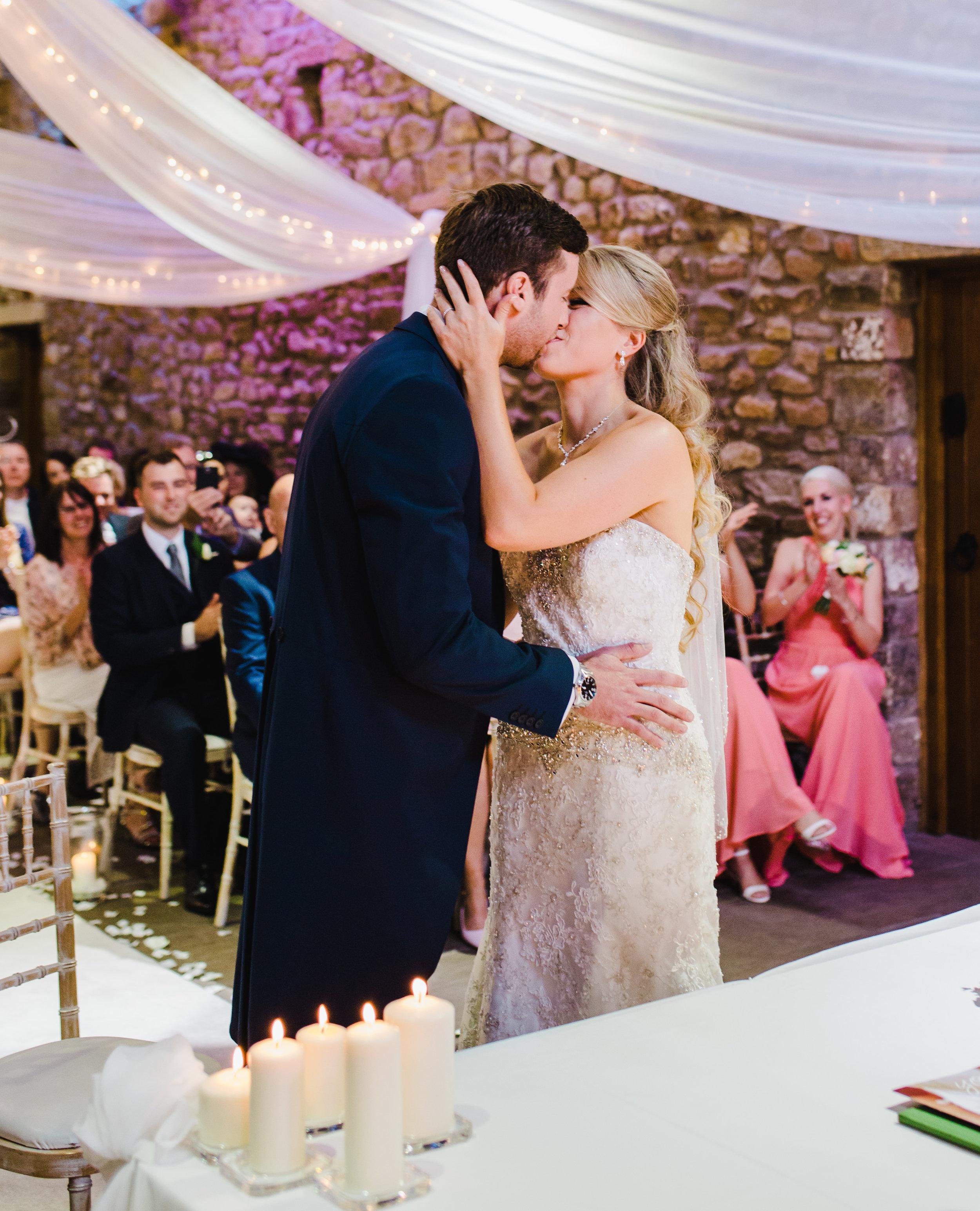 first kiss at Browsholme Hall wedding - Lancashire wedding photography
